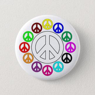 bunte Friedenszeichen-Buttone Runder Button 5,7 Cm