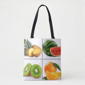 Bunte Frucht-Collage Tasche