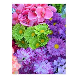 Bunte Frühlings-Blumen Postkarte