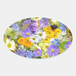Bunte Frühlings-Blumenzusammensetzung Ovaler Aufkleber