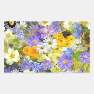 Bunte Frühlings-Blumenzusammensetzung Rechteckiger Aufkleber