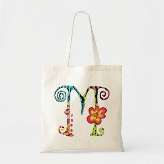 Bunte Funky Taschen-Tasche des Monogramm-M Budget Stoffbeutel