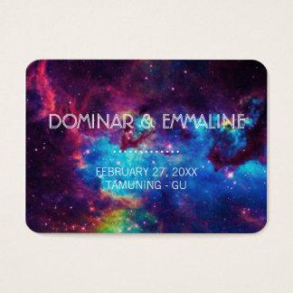 Bunte Galaxie-Hochzeits-Platzkarten Visitenkarte