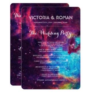 Bunte Galaxie-Hochzeits-Programme Karte