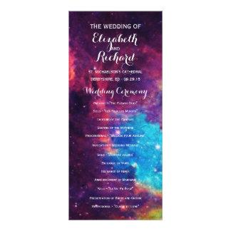 Bunte Galaxie-Hochzeits-Programme Personalisierte Werbekarte