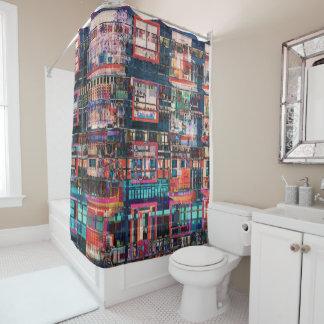 Bunte Gebäude-Collage Duschvorhang