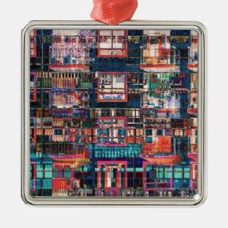 Bunte Gebäude-Collage Quadratisches Silberfarbenes Ornament