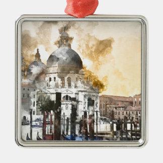 Bunte Gebäude in Venedig Italien Quadratisches Silberfarbenes Ornament
