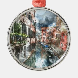 Bunte Gebäude in Venedig Italien Rundes Silberfarbenes Ornament