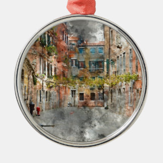 Bunte Gebäude und Kanäle Venedigs Italien Rundes Silberfarbenes Ornament
