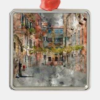 Bunte Gebäude und Kanäle Venedigs Italien Silbernes Ornament