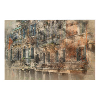 Bunte Gebäude Venedigs Italien Holzwanddeko