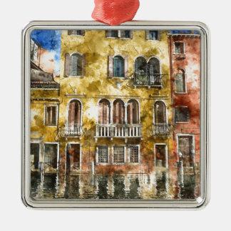 Bunte Gebäude Venedigs Italien Quadratisches Silberfarbenes Ornament