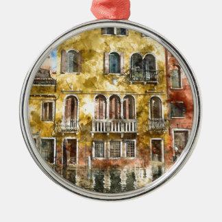 Bunte Gebäude Venedigs Italien Silbernes Ornament