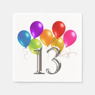 Bunte Geburtstags-Ballone 13 Serviette