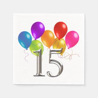 Bunte Geburtstags-Ballone 15 Papierservietten