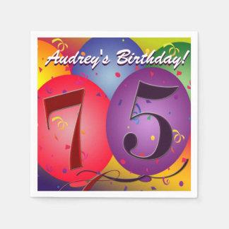 Bunte Geburtstags-Ballone für 75. Geburtstag! Serviette