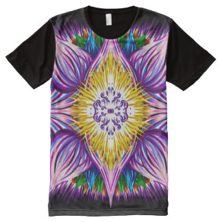 Bunte geistige Lotus-Mandala-Indie Gouache-Kunst T-Shirt Mit Komplett Bedruckbarer Vorderseite