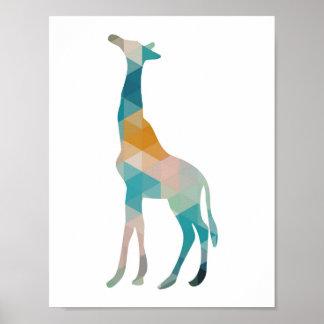 Bunte geometrische Giraffen-Silhouette Poster