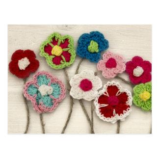 bunte gewirkte Blumen Postkarte