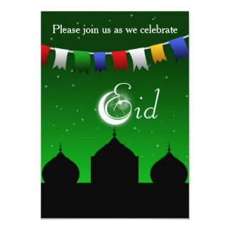 Bunte Girlande mit Moschee Eid Party Einladung