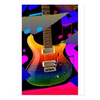 Bunte Gitarre - Felsen an! Postkarte