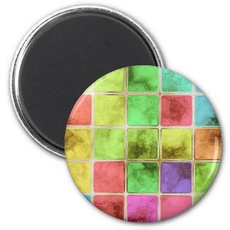 Bunte Glasfliesen Runder Magnet 5,1 Cm