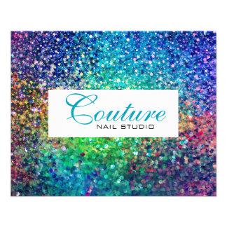 Bunte Glitter-Menü-Liste 11,4 X 14,2 Cm Flyer