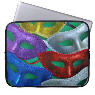 Bunte Glittermasken Laptopschutzhülle