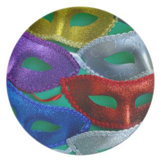 Bunte Glittermasken Melaminteller