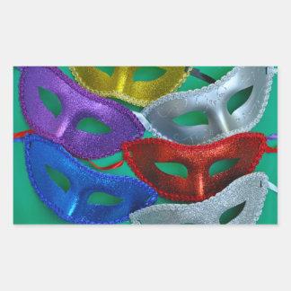 Bunte Glittermasken Rechteckiger Aufkleber