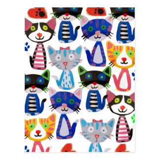 bunte glückliche Katzen Postkarte