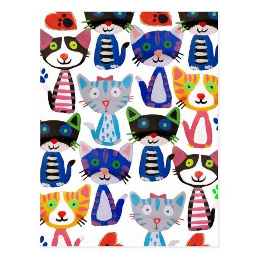 bunte glückliche Katzen Postkarten