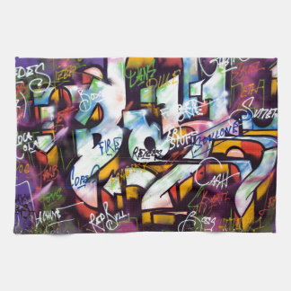 Bunte Graffiti-Wörter Küchentuch