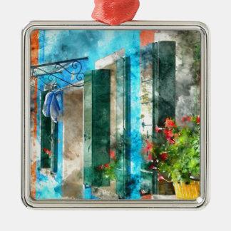 Bunte Häuser in Burano Insel Venedig Italien Silbernes Ornament