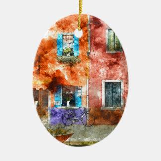 Bunte Häuser in Burano Italien nahe Venedig Keramik Ornament