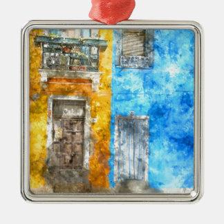 Bunte Häuser in Burano Italien nahe Venedig Silbernes Ornament