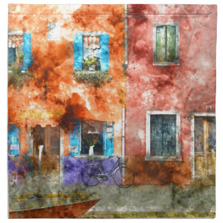 Bunte Häuser in Burano Italien nahe Venedig Stoffserviette