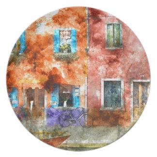 Bunte Häuser in Burano Italien nahe Venedig Teller