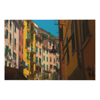 Bunte Häuser in Cinque Terre Italien Holzdruck