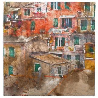 Bunte Häuser in Cinque Terre Italien Serviette
