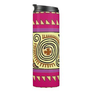 Bunte helle hochrote Quenacho Stammes- Trommel Thermosbecher
