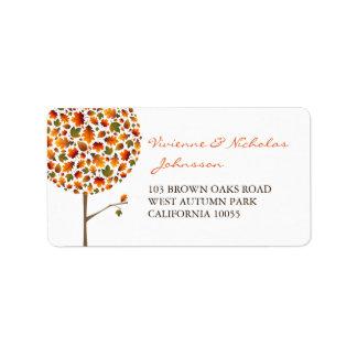 Bunte Herbstlaub-Pop-Baum-Adressen-Etiketten Adressaufkleber