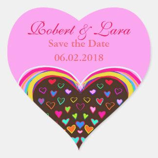 bunte Herz-Liebe Save the Date, die Aufkleber