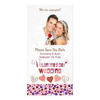 Bunte Herz-Plätzchen-Valentinstag-Hochzeit Individuelle Photo Karten