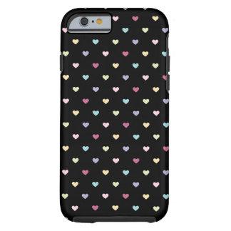 Bunte Herzen auf Schwarzem Tough iPhone 6 Hülle