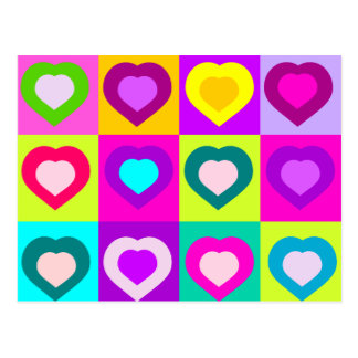 bunte Herzen, Liebepostkarte Postkarten