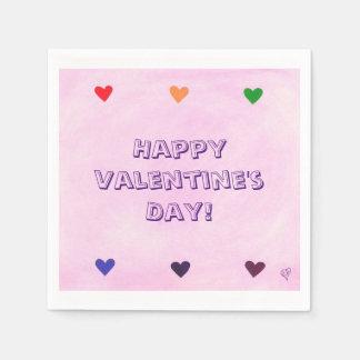 Bunte Herzen mischten rosa Papierserviette