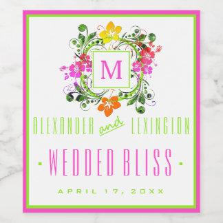 Bunte Hibiskus-Blumen-mit Monogramm Hochzeit Weinetikett
