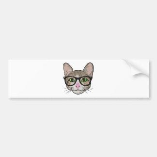 Bunte Hipster-Katze Autoaufkleber